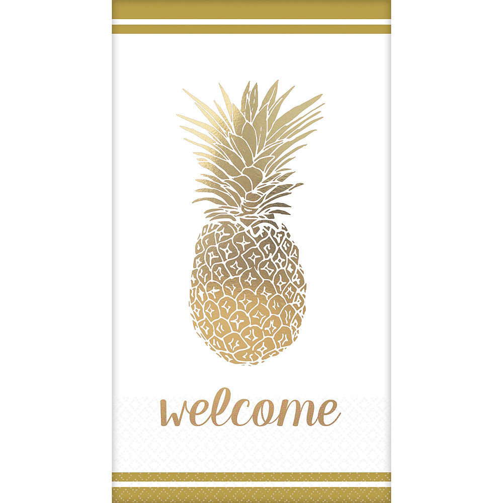 Gold Pineapple Premium Guest Towels 48ct with Caddy Image #2