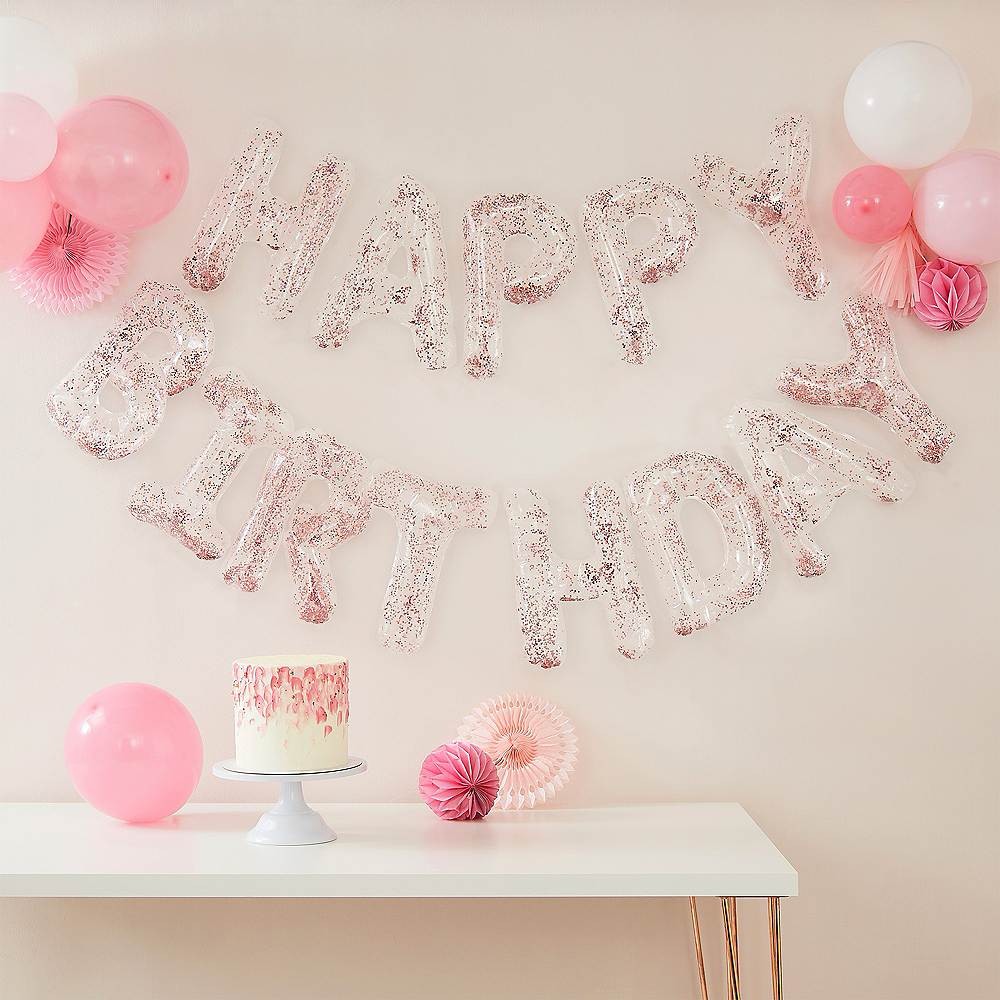 Ginger Ray Air-Filled Clear Happy Birthday Pink Foil Confetti Balloon Phrase, 15in Image #1
