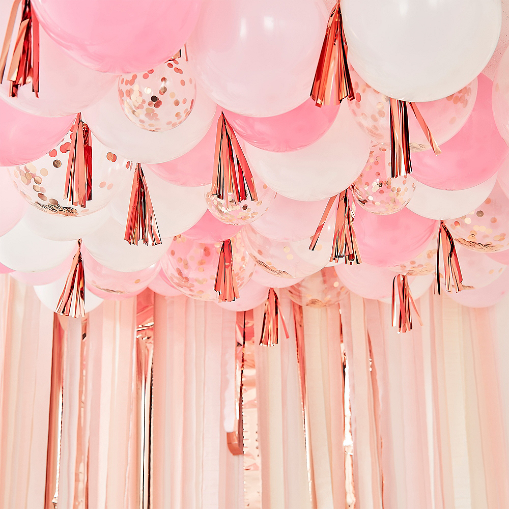 Ginger Ray Blush, White & Metallic Rose Gold Balloon Ceiling Image #1