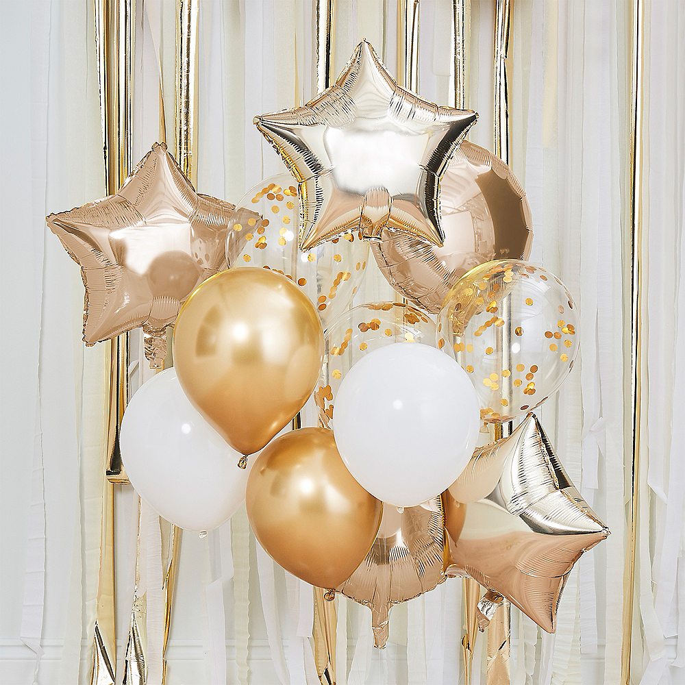 Nav Item for Ginger Ray Metallic Gold & White Balloon Bouquet, 12pc Image #1