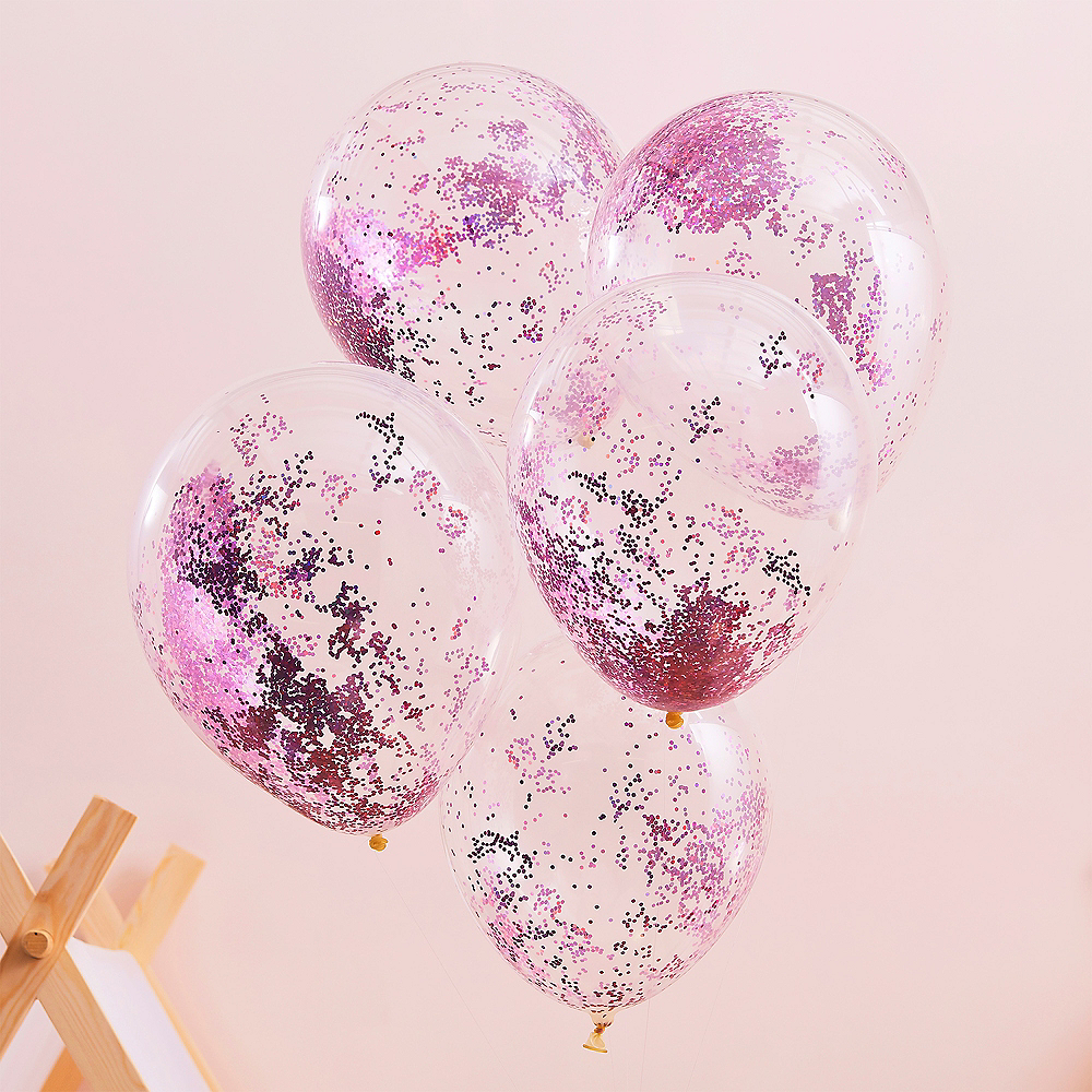 Ginger Ray Pink Glitter Balloons, 12in, 5ct Image #1