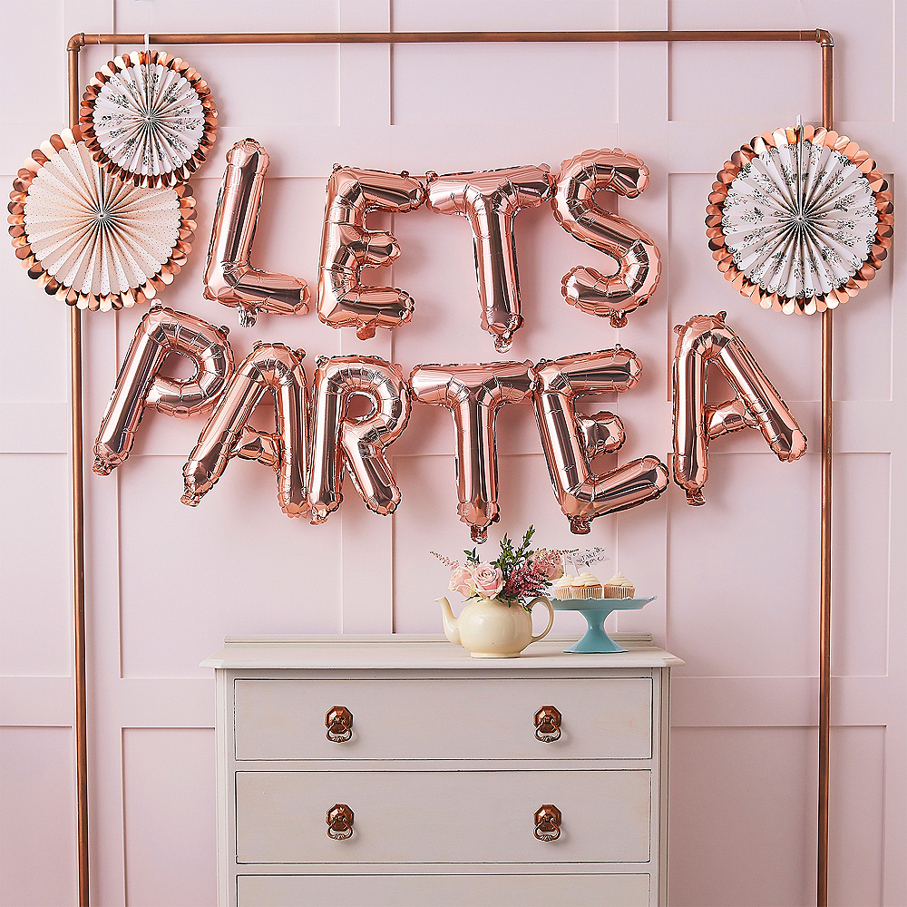 Ginger Ray Air-Filled Metallic Rose Gold Lets Par-Tea Balloon Phrase Image #1