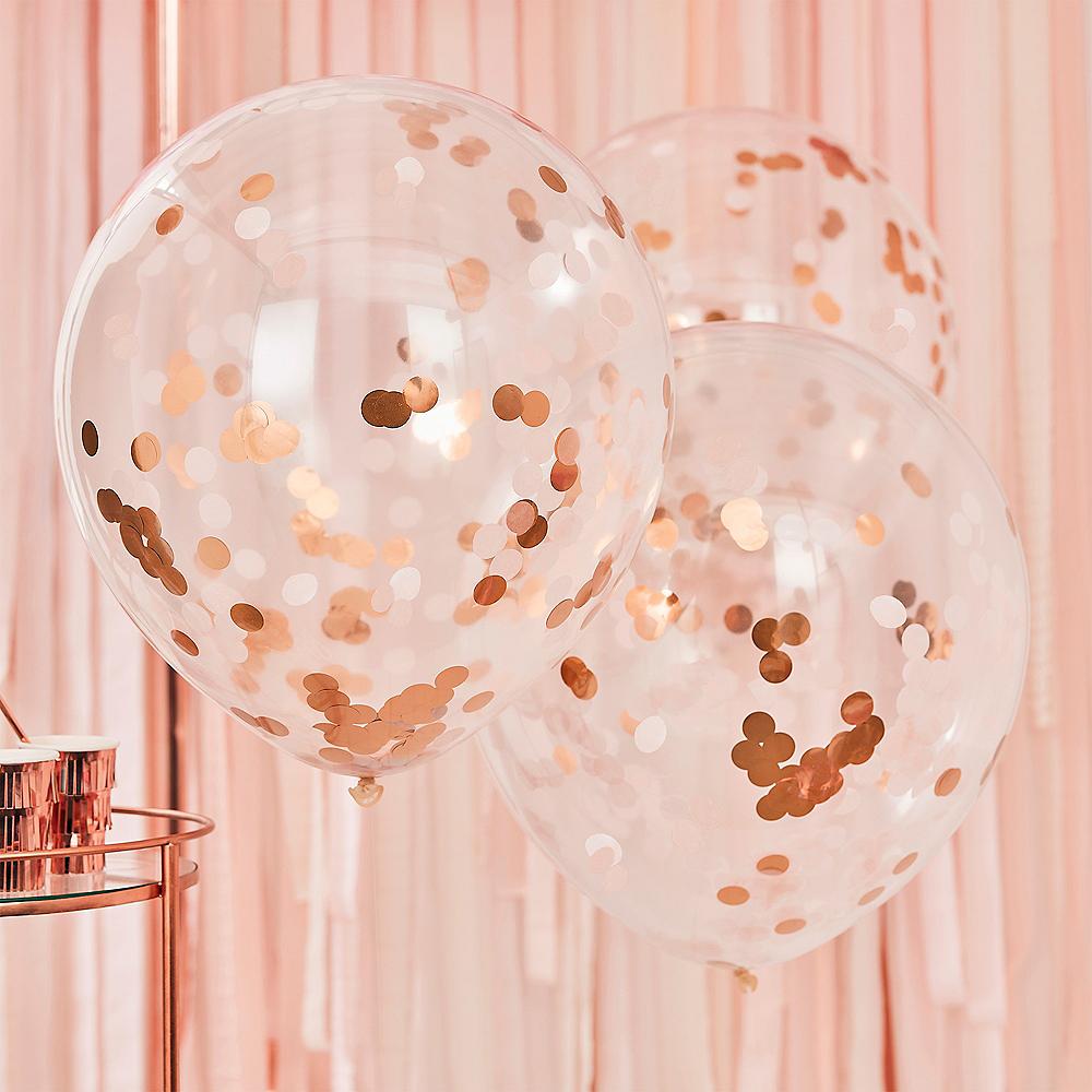 Ginger Ray Blush & Metallic Rose Gold Confetti Balloons, 22in, 3ct Image #1