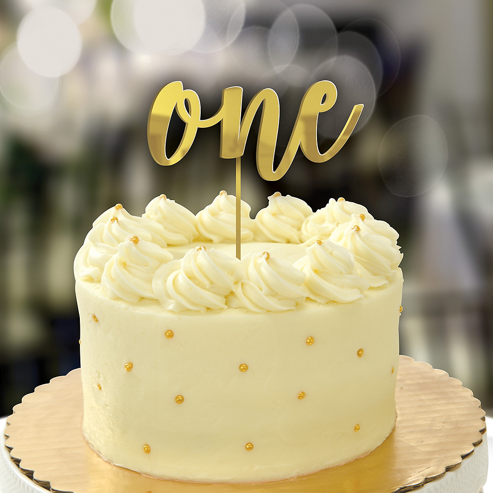 Mirrored Gold 1st Birthday Cake Topper Image #1