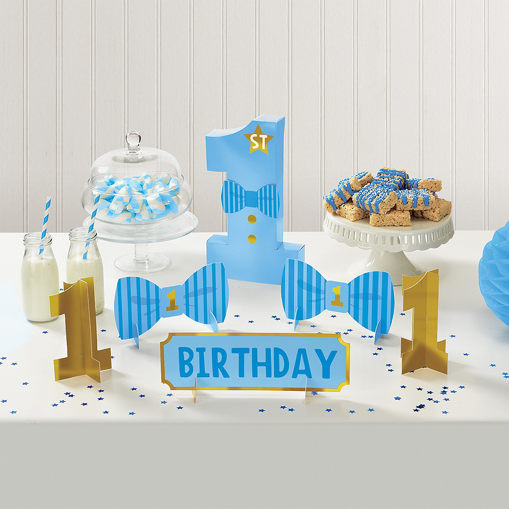 Blue & Gold 1st Birthday Table Decorating Kit 6pc Image #1