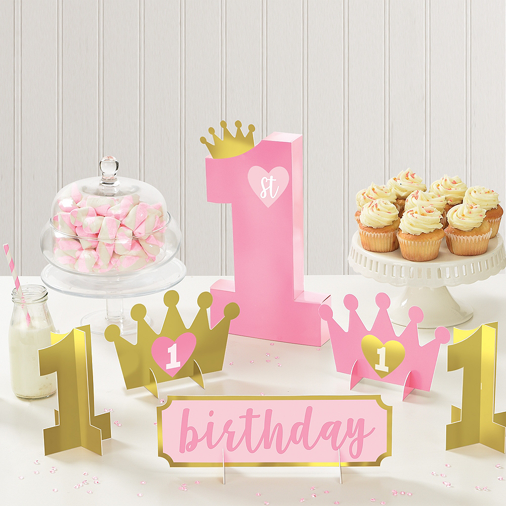 Gold & Pink 1st Birthday Table Decorating Kit 6pc Image #1