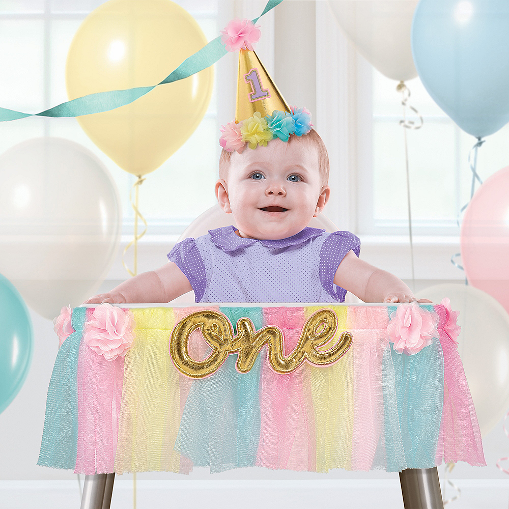Pastel 1st Birthday Deluxe High Chair Decoration Image #1