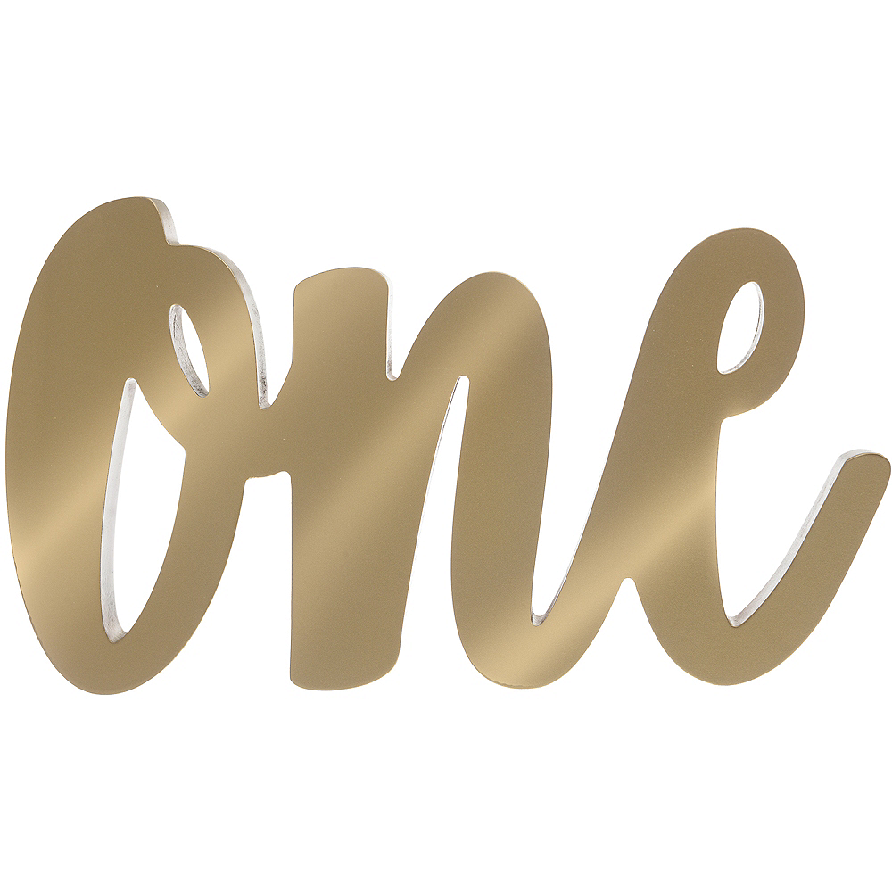 Gold One 1st Birthday Block Letter Sign Image #1