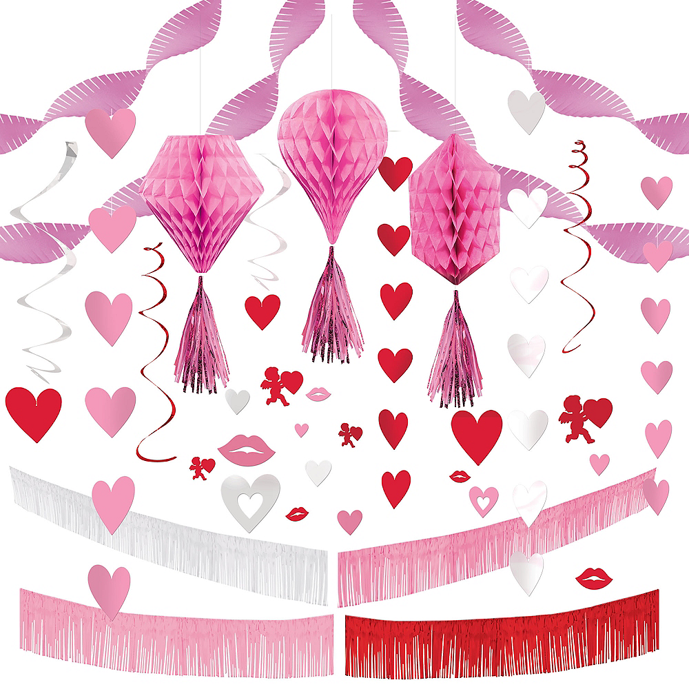 Pink Valentine's Day Heart Hanging Decorating Kit Image #1