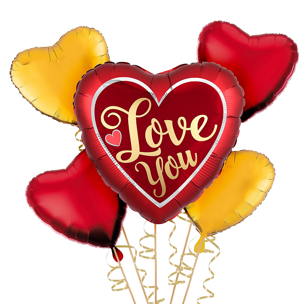Red & Gold Love You Balloon Kit Image #1