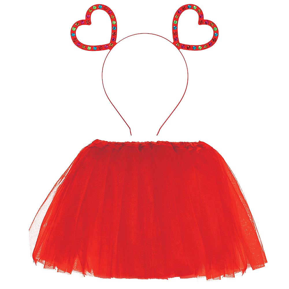 Child Valentine's Day Glitter Heart Accessory Set Image #1