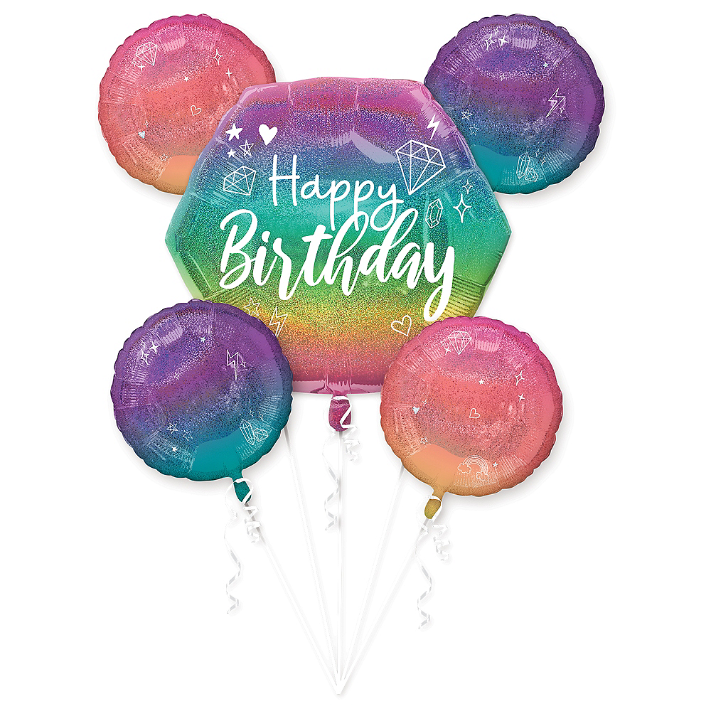 Nav Item for Ombre Sparkle Balloon Bouquet 5pc Image #1