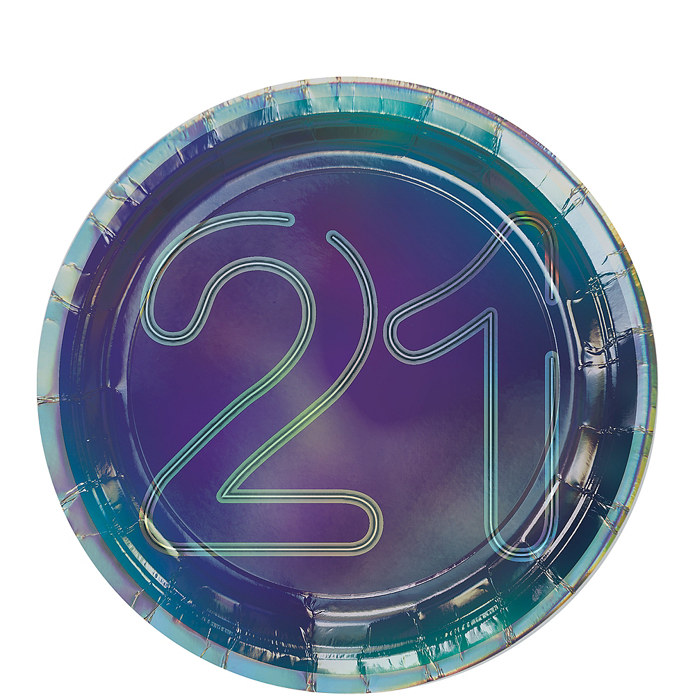 Iridescent Finally 21 Birthday Dessert Plates, 7in, 8ct Image #1