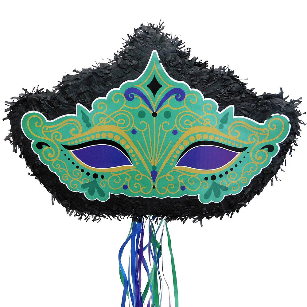 Pull String Mardi Gras Masquerade Mask Pinata Kit with Favors Image #2