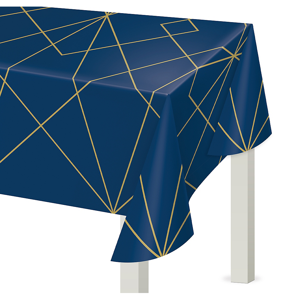 Nav Item for Navy & Gold Geode Plastic Table Cover Image #1