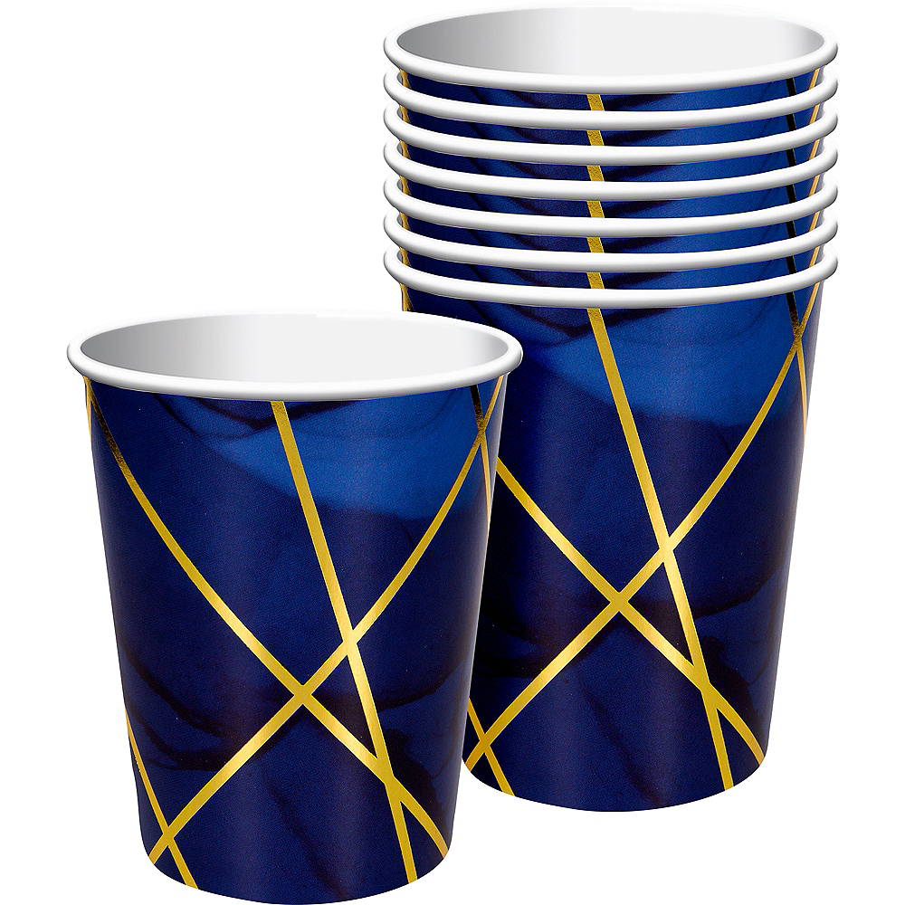 Navy & Gold Geode Paper Cups 8ct Image #1