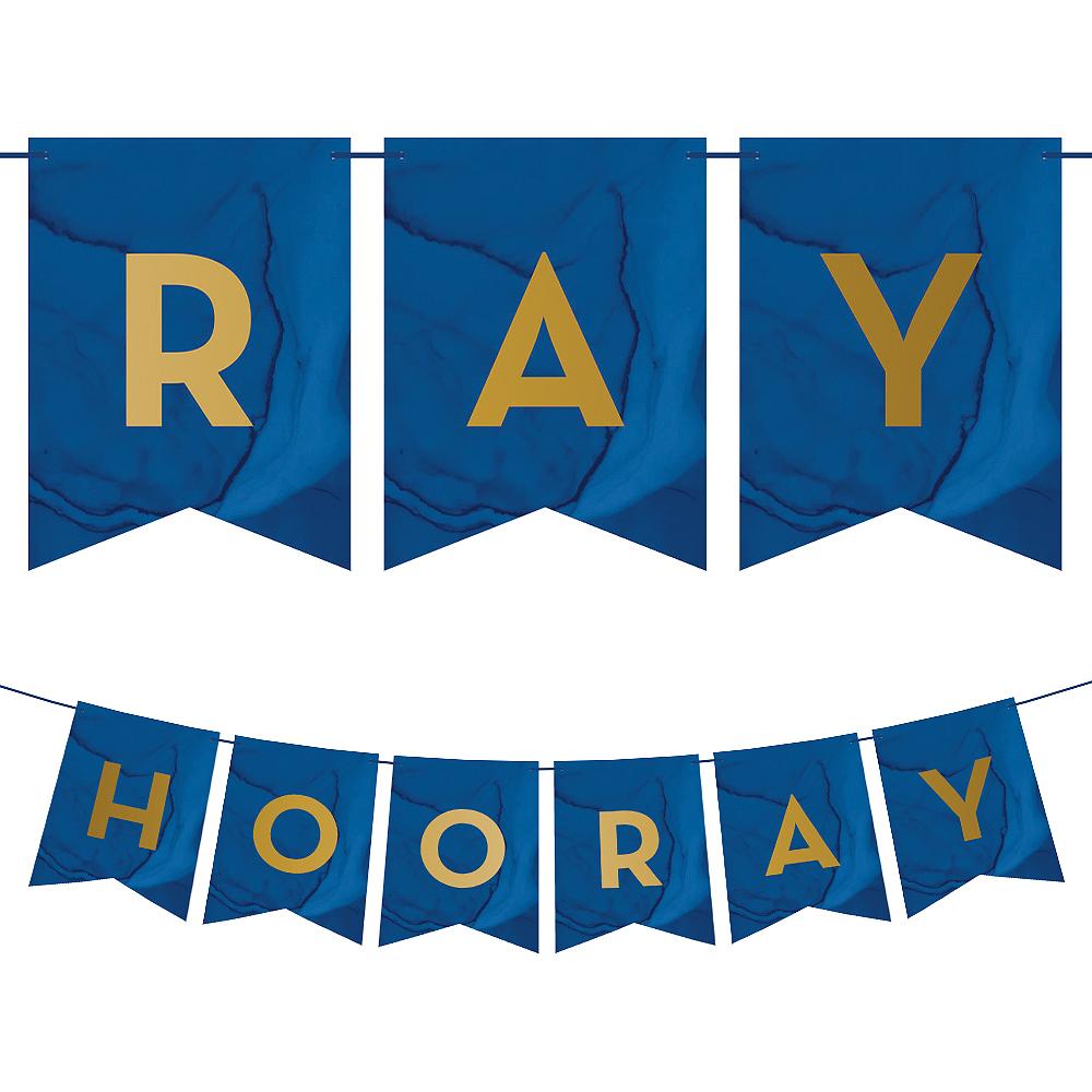 Navy & Gold Geode Hooray Pennant Banner Image #1