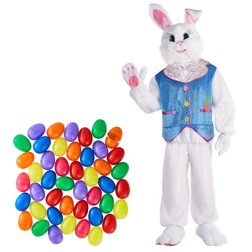 Adult Easter Bunny Costume & Fillable Multicolor Eggs 1000ct Image #1