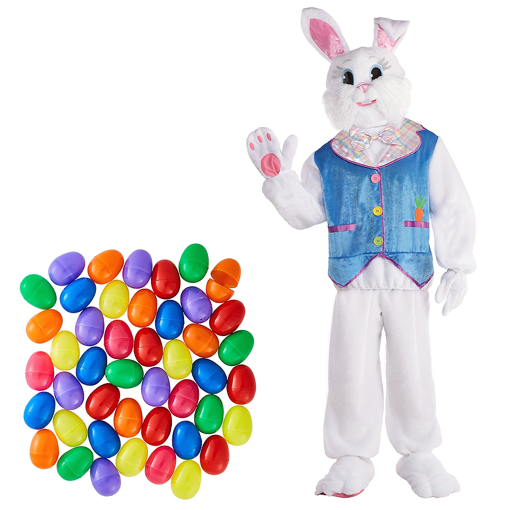 Adult Purple Jacket Easter Bunny Costume & Fillable Multicolor Eggs 500ct Image #1