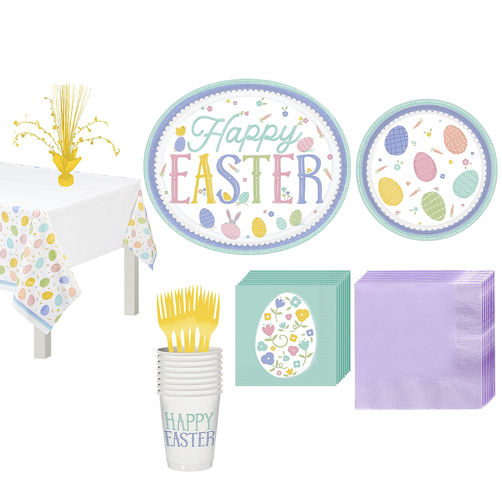 Pretty Pastel Easter Tableware Kit for 16 Guests Image #1