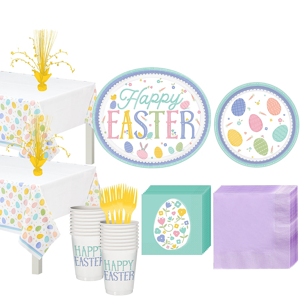 Pretty Pastel Easter Tableware Kit for 32 Guests Image #1