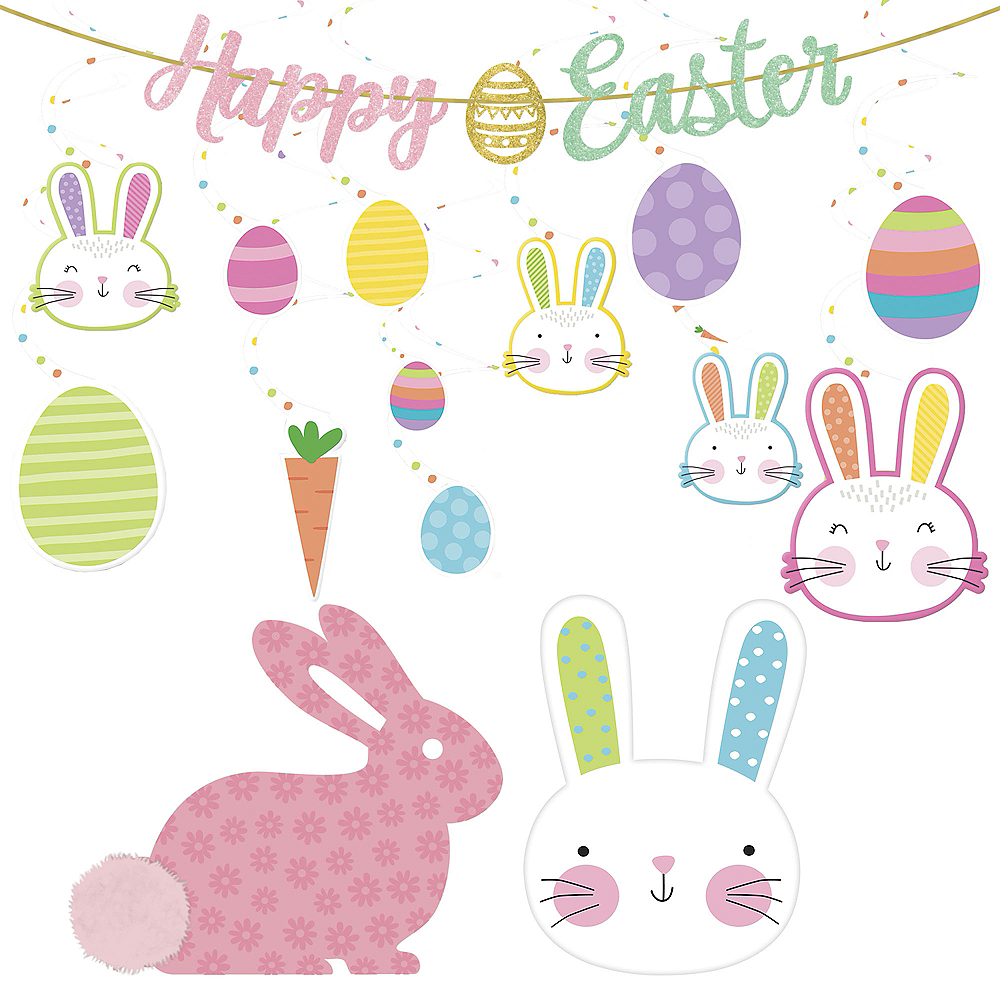 Hello Bunny Letter Happy Easter Decorating Kit 5pc Image #1