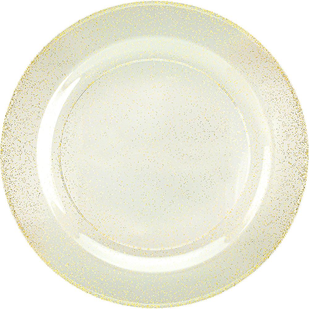 Glitter Gold & White Premium Plastic Dinner Plates, 10.25in, 10ct Image #1