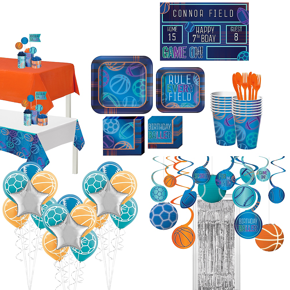 Birthday Baller Ultimate Tableware Kit for 16 Guests Image #1