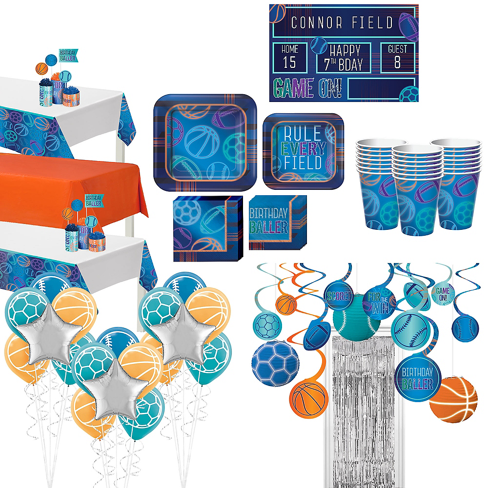 Birthday Baller Ultimate Tableware Kit for 24 Guests Image #1