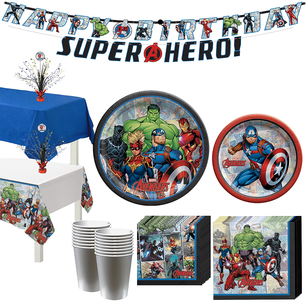 Marvel Powers Unite Captain America Tableware Kit for 16 Guests Image #1