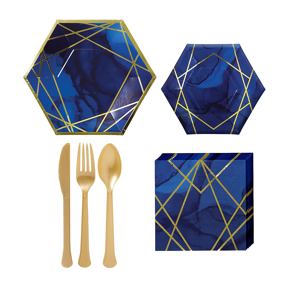 Navy & Gold Geode Lunch Kit for 16 Guests Image #1