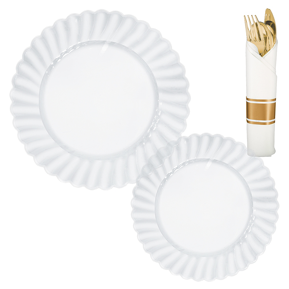 CLEAR & Gold Premium Plastic Tableware Kit for 36 Guests Image #1