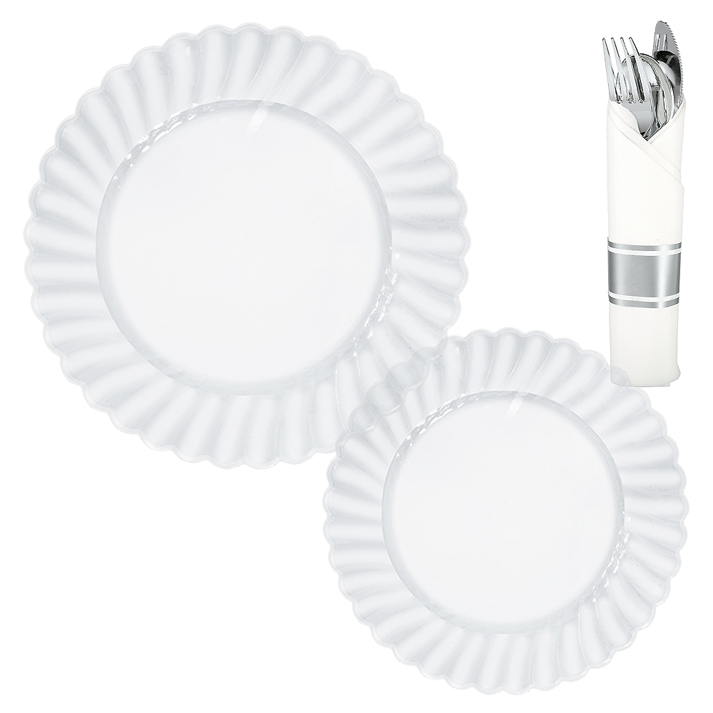 CLEAR & Silver Premium Plastic Tableware Kit for 36 Guests Image #1