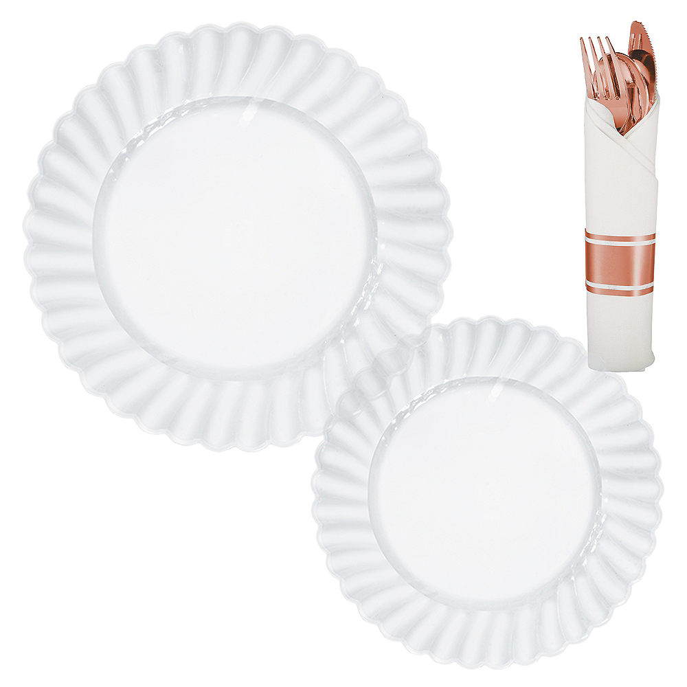 CLEAR & Rose Gold Premium Plastic Tableware Kit for 36 Guests Image #1