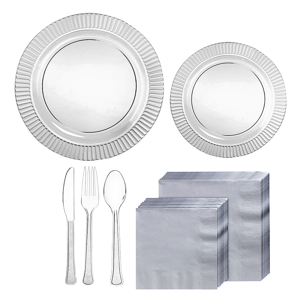 Fluted CLEAR & Silver Premium Plastic Tableware Kit for 48 Guests Image #1