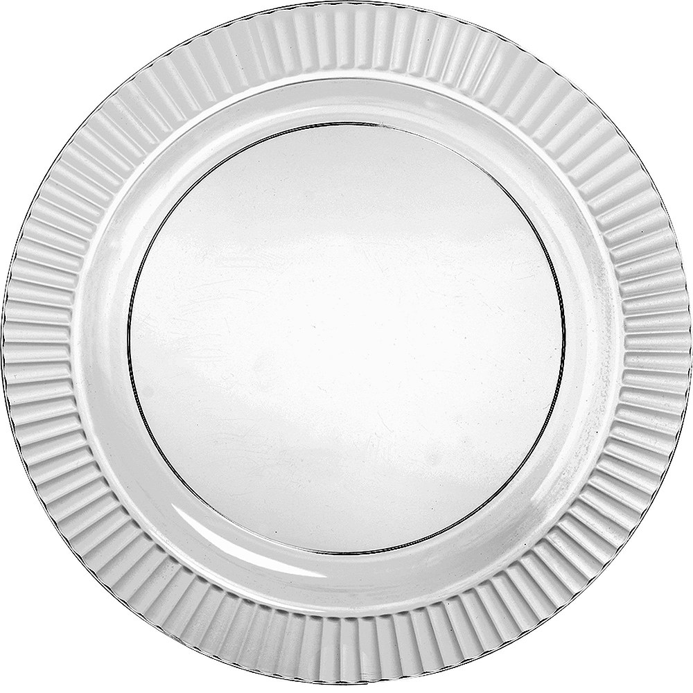 Fluted CLEAR & Silver Premium Plastic Tableware Kit for 48 Guests Image #3