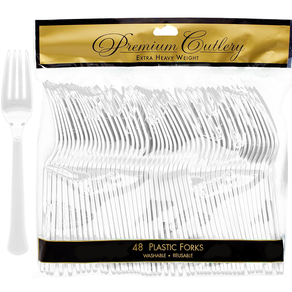 Fluted CLEAR & Silver Premium Plastic Tableware Kit for 48 Guests Image #6