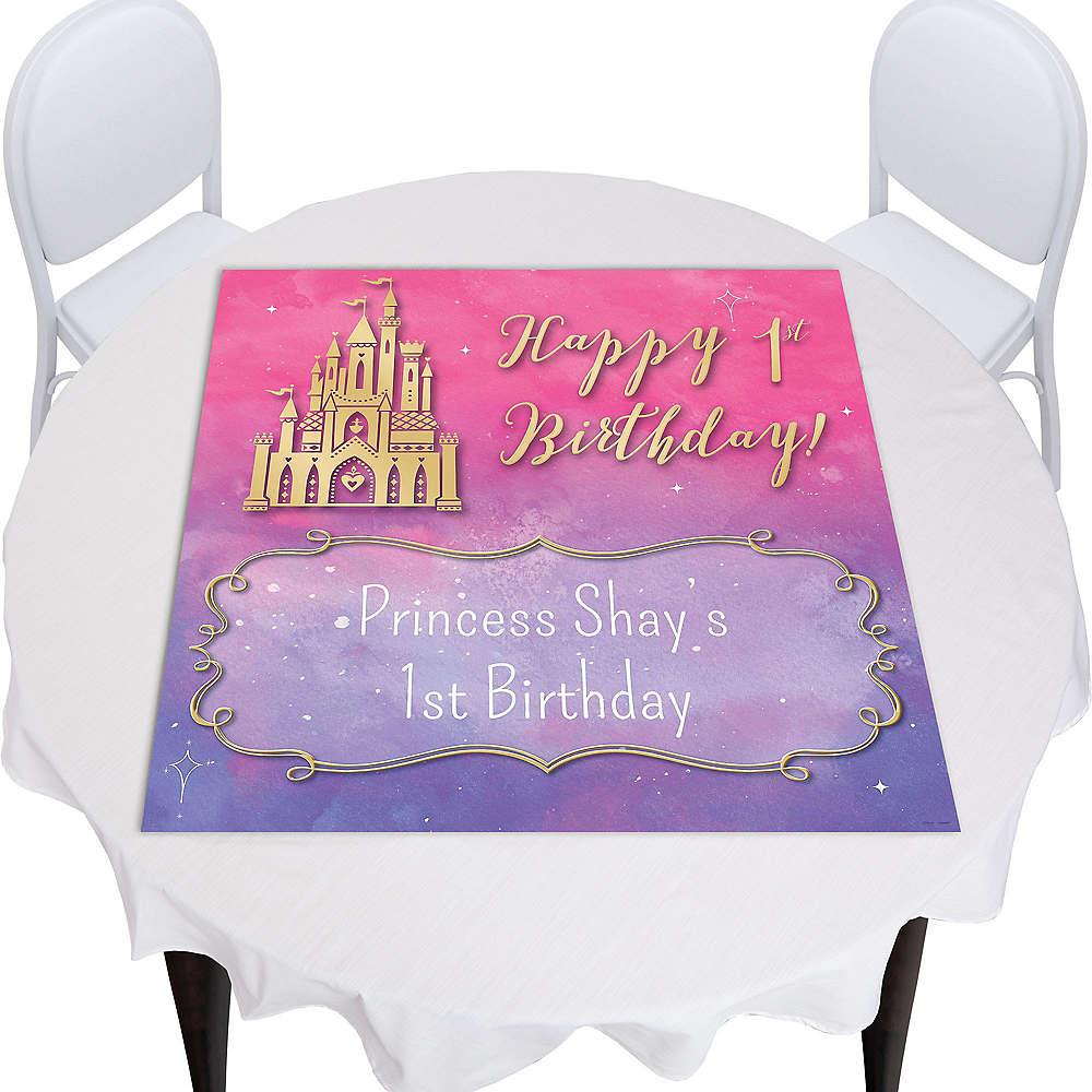 Custom Once Upon a Time Disney Princess 1st Birthday Square Table Topper Image #1