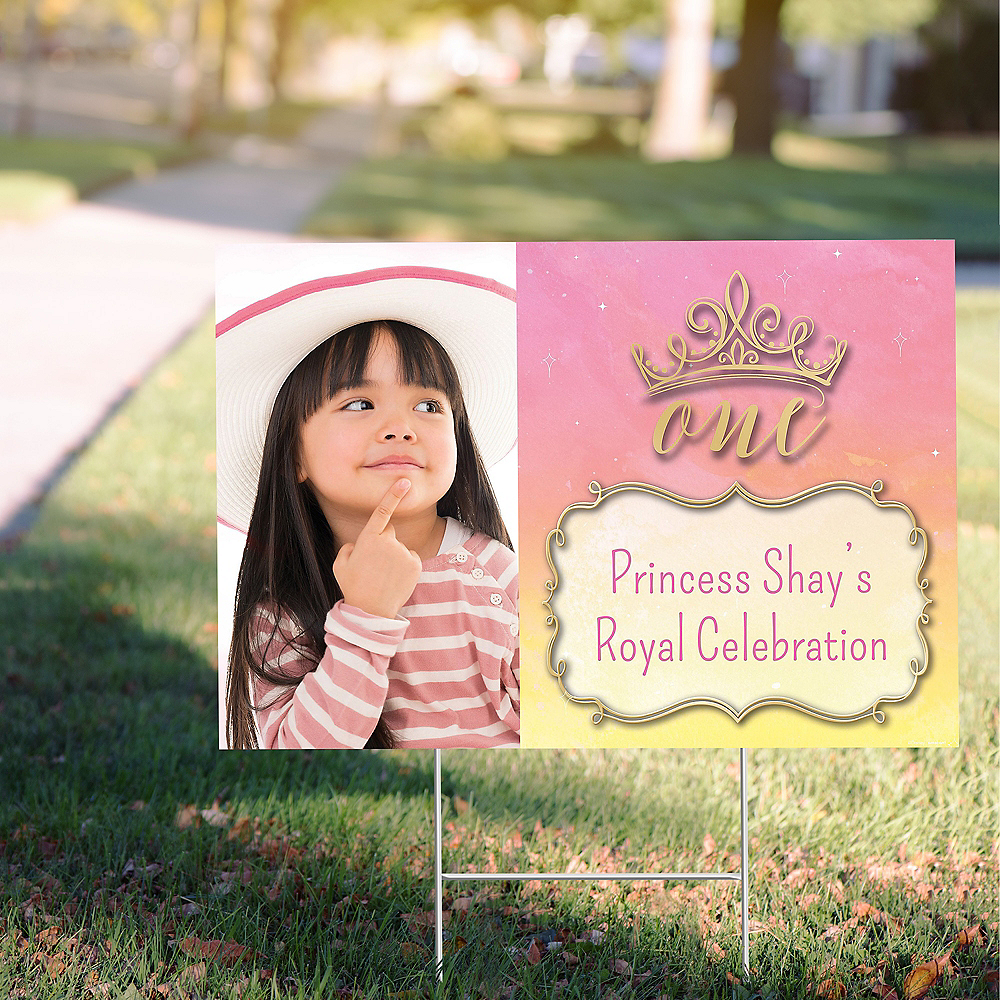 Custom Once Upon a Time Disney Princess 1st Birthday Photo Yard Sign Image #1