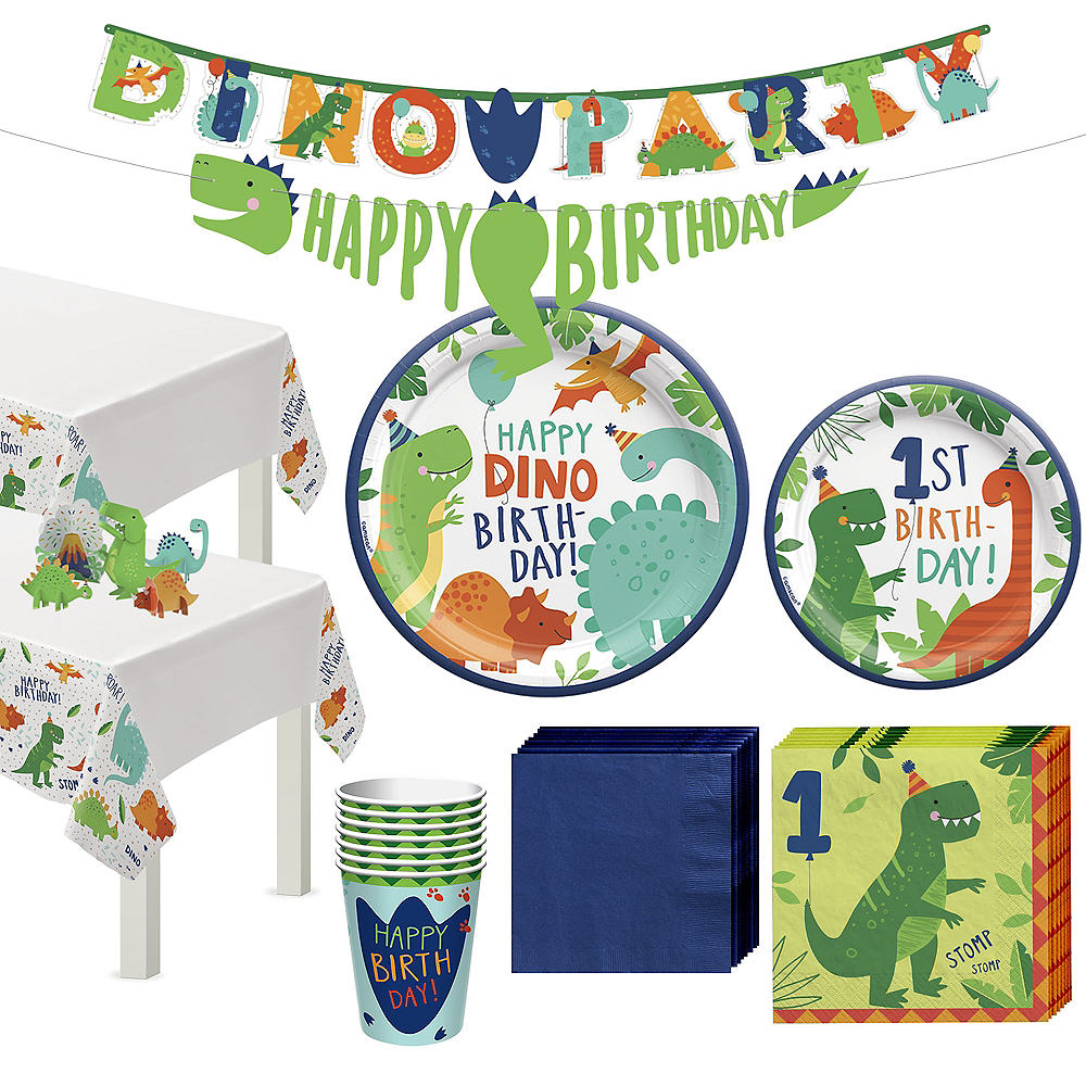 Dino-Mite 1st Birthday Tableware Kit for 16 Guests Image #1