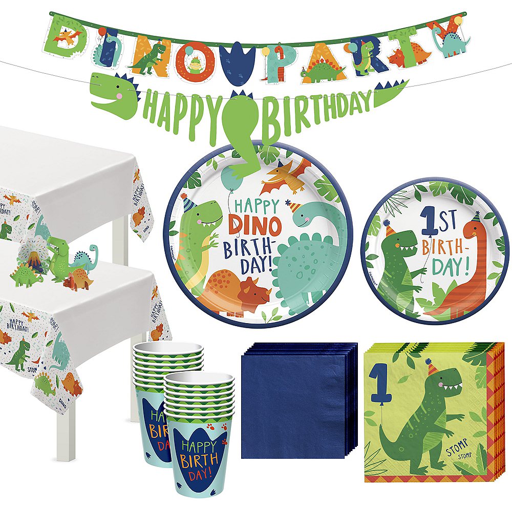 Dino-Mite 1st Birthday Tableware Kit for 32 Guests Image #1