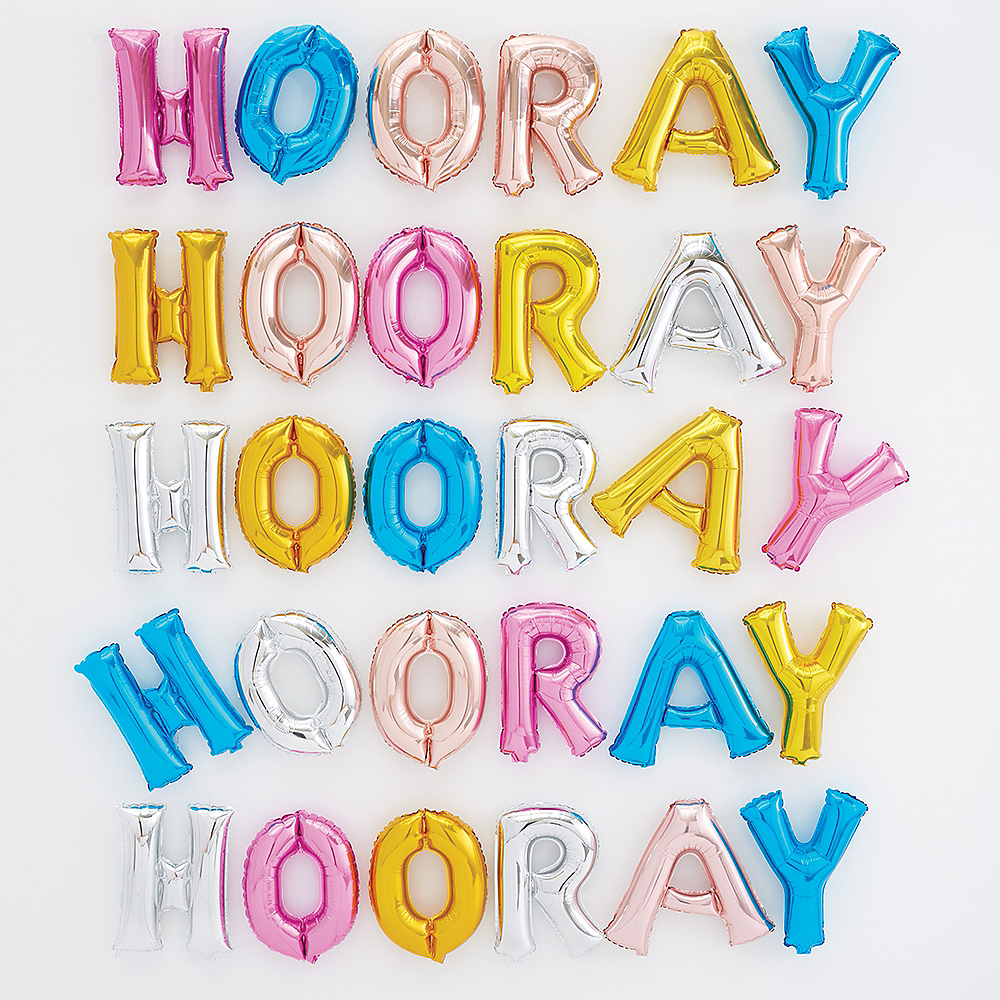 Air-Filled Multicolor Hooray Letter Balloon Wall Kit Image #1