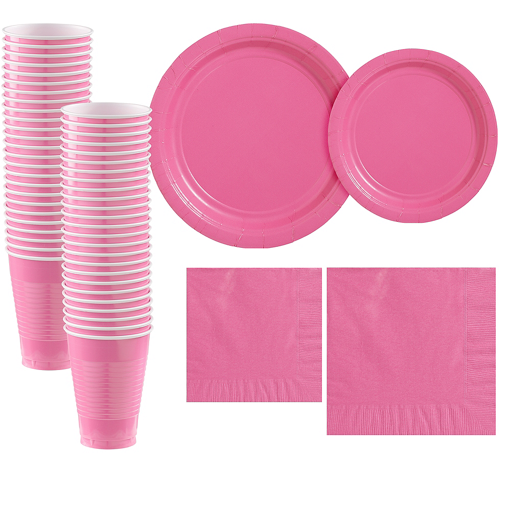 Bright Pink Paper Tableware Kit for 50 Guests Image #1