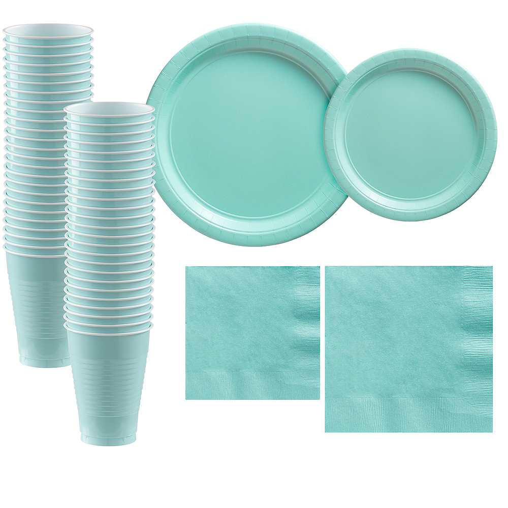 Robin's Egg Blue Paper Tableware Kit for 50 Guests Image #1
