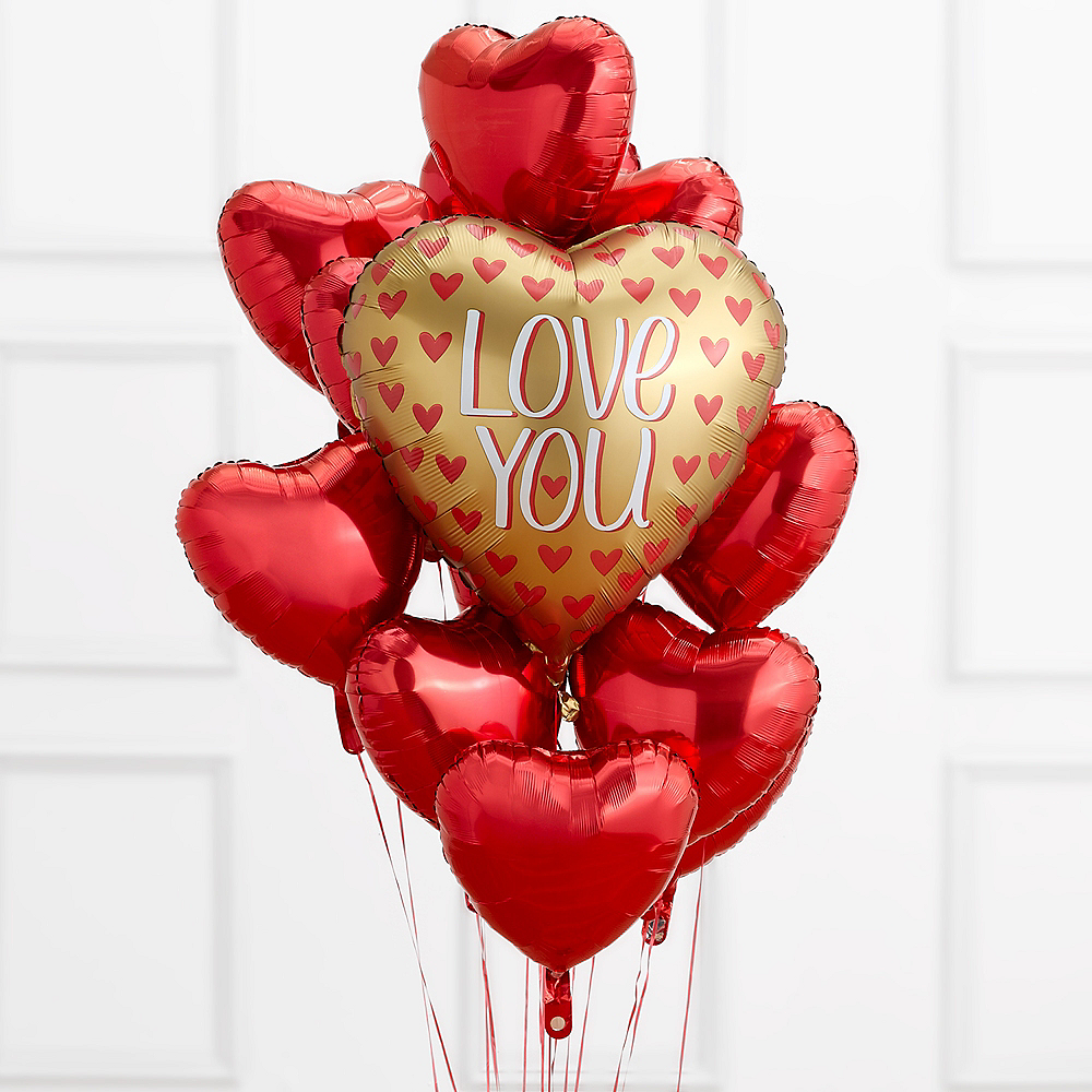 Love You Gold & Red Heart Balloon Bouquet Image #1