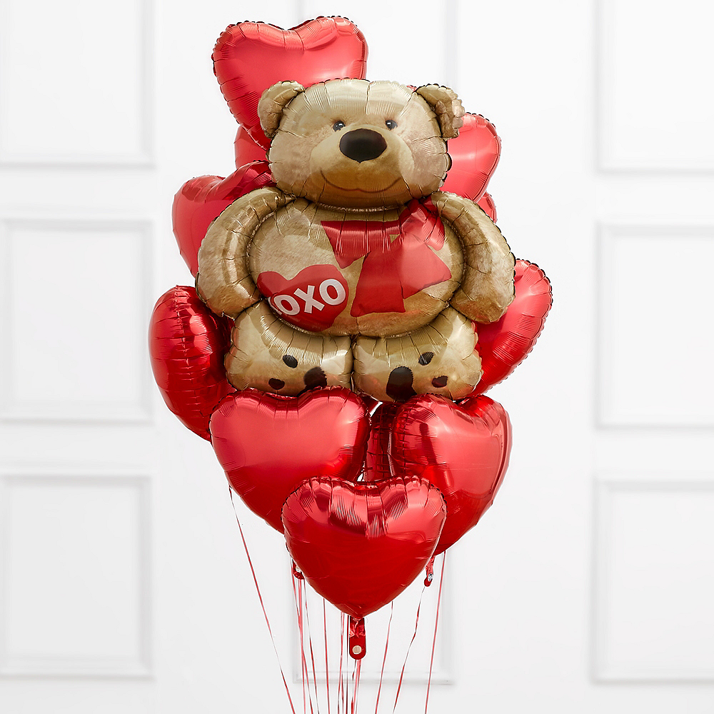 Brown Bear & Red Heart Balloon Bouquet Image #1