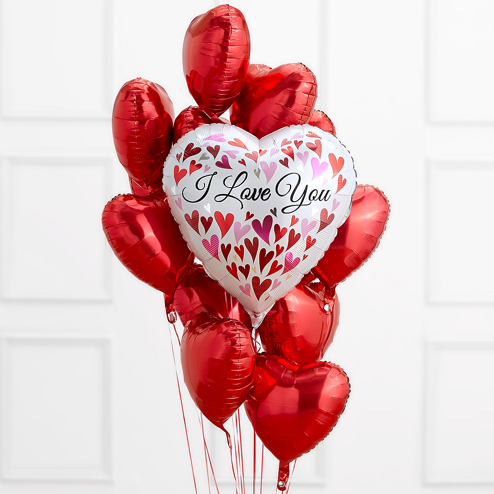 I Love You Red Heart Balloon Bouquet Image #1