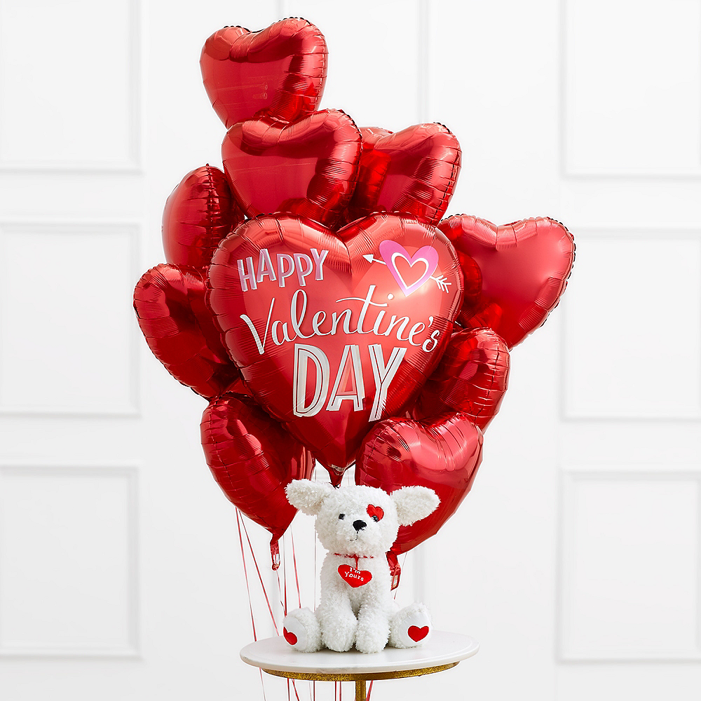 Valentine's Day Red Heart Balloon Bouquet with White Dog Plush Image #1