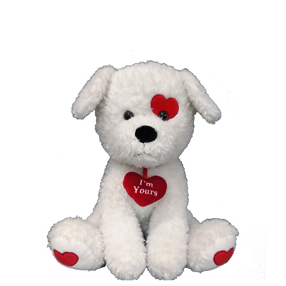 Valentine's Day Red Heart Balloon Bouquet with White Dog Plush Image #4