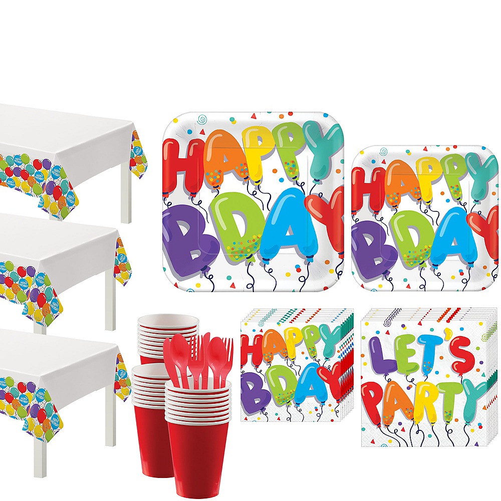 Rainbow Birthday Balloon Party Kit for 18 Guests Image #1